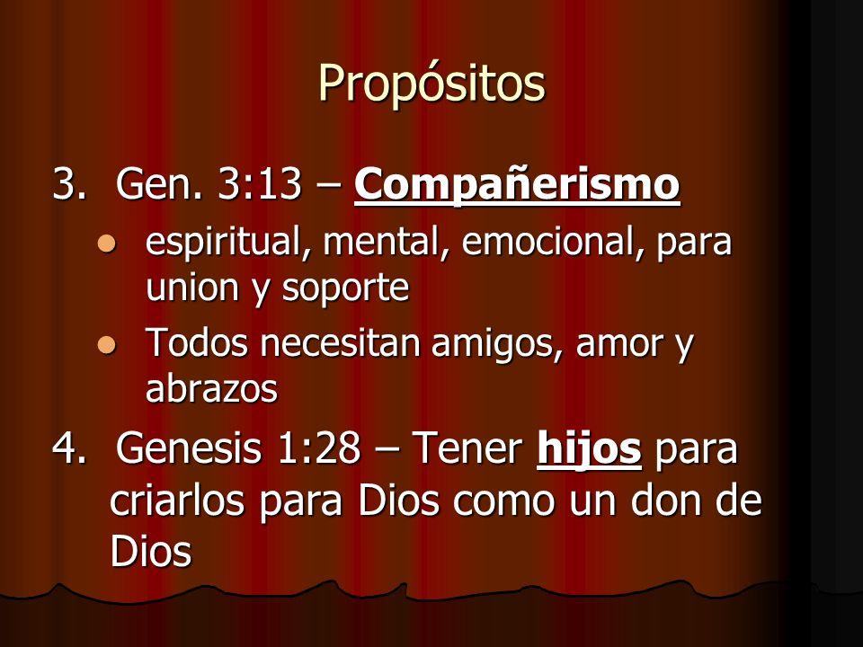Propósitos 3. Gen. 3:13 – Compañerismo
