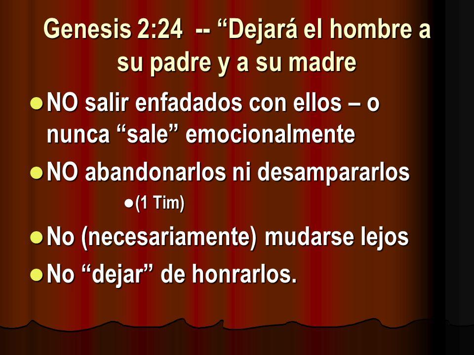 Genesis 2:24 -- Dejará el hombre a su padre y a su madre