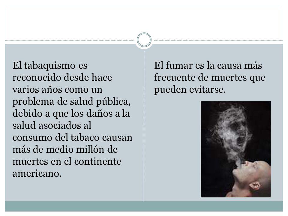 El tabaquismo es reconocido desde hace varios años como un problema de salud pública, debido a que los daños a la salud asociados al consumo del tabaco causan más de medio millón de muertes en el continente americano.