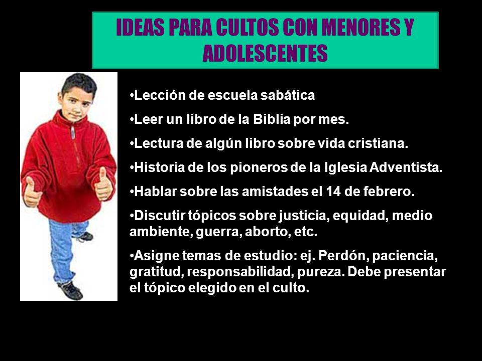 IDEAS PARA CULTOS CON MENORES Y ADOLESCENTES