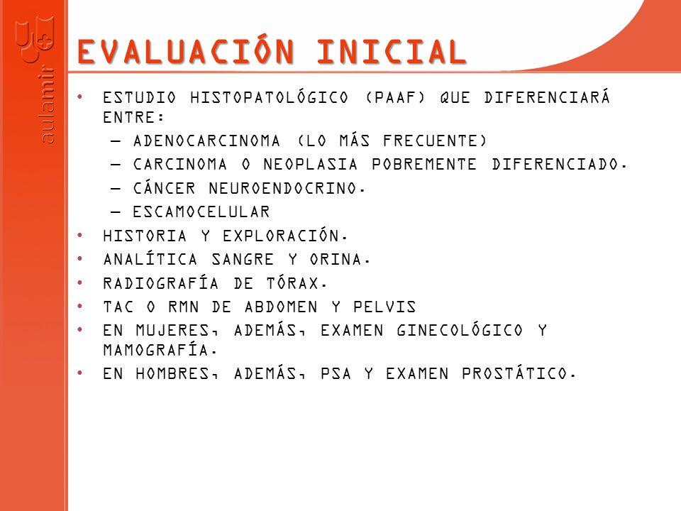 EVALUACIÓN INICIAL ESTUDIO HISTOPATOLÓGICO (PAAF) QUE DIFERENCIARÁ ENTRE: ADENOCARCINOMA (LO MÁS FRECUENTE)