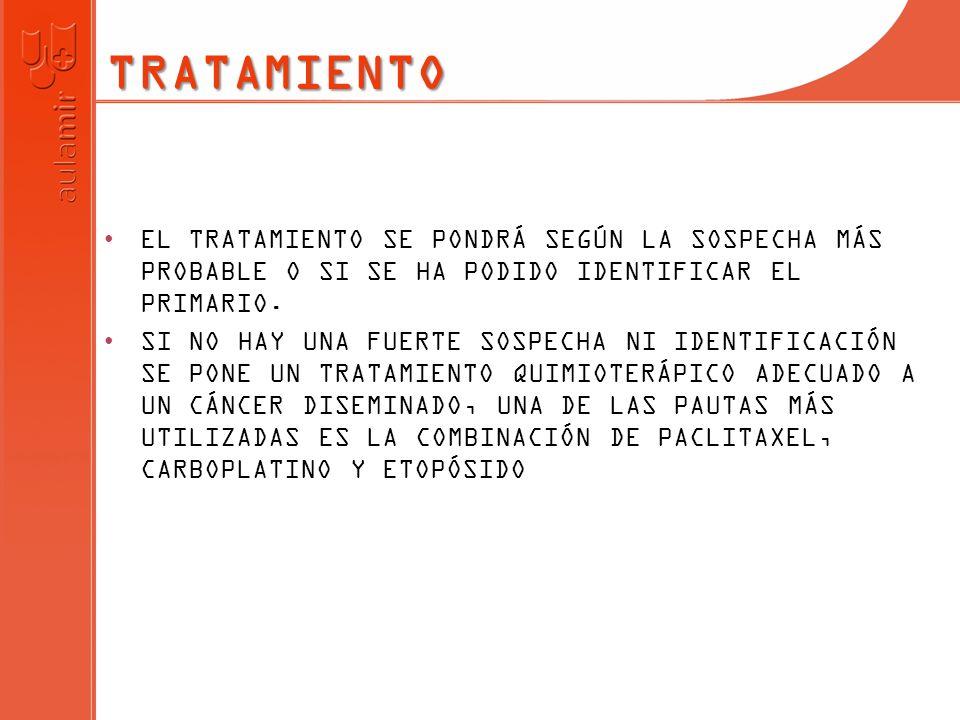 TRATAMIENTOEL TRATAMIENTO SE PONDRÁ SEGÚN LA SOSPECHA MÁS PROBABLE O SI SE HA PODIDO IDENTIFICAR EL PRIMARIO.