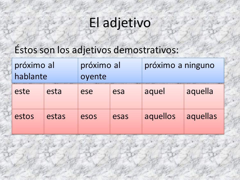 El adjetivo Éstos son los adjetivos demostrativos: próximo al hablante