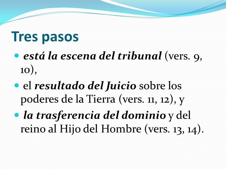 Tres pasos está la escena del tribunal (vers. 9, 10),