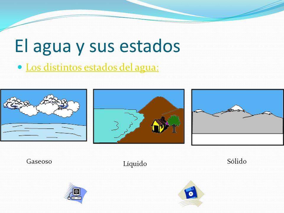 El agua y sus estados Los distintos estados del agua: Gaseoso Sólido