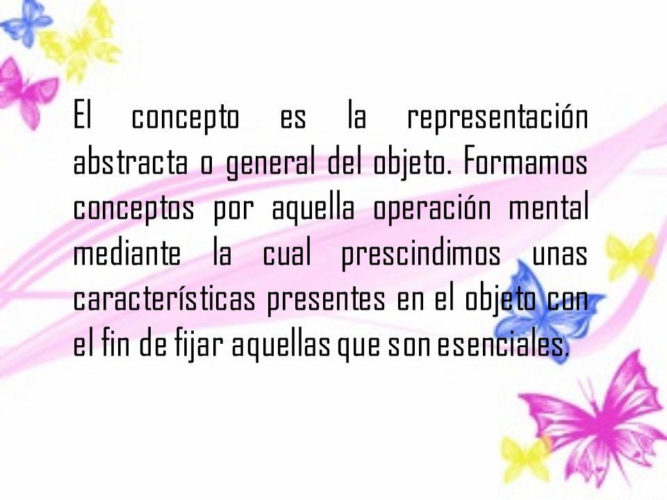 El concepto es la representación abstracta o general del objeto