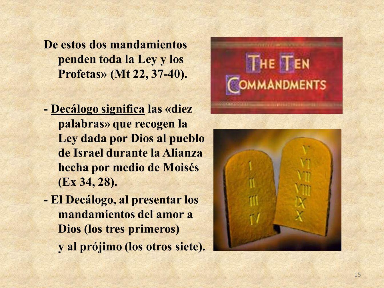 De estos dos mandamientos penden toda la Ley y los Profetas» (Mt 22, 37-40).