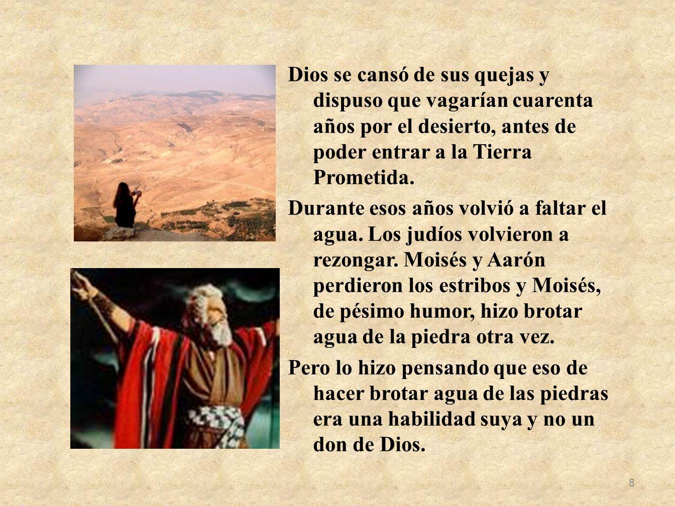 Dios se cansó de sus quejas y dispuso que vagarían cuarenta años por el desierto, antes de poder entrar a la Tierra Prometida.
