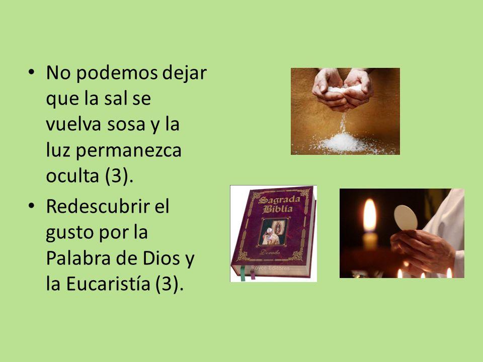 No podemos dejar que la sal se vuelva sosa y la luz permanezca oculta (3).