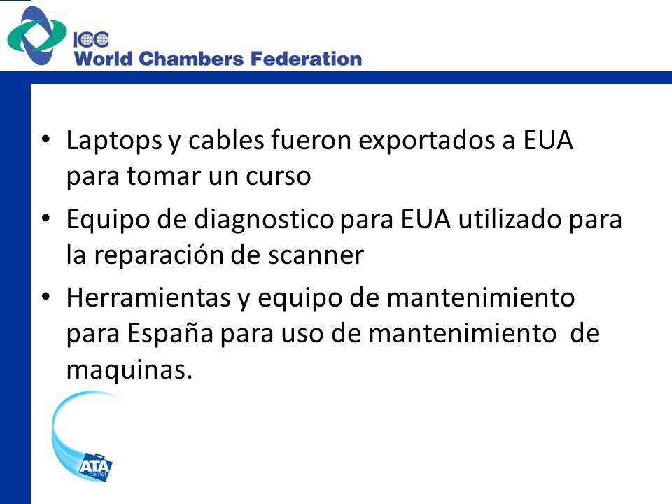Laptops y cables fueron exportados a EUA para tomar un curso