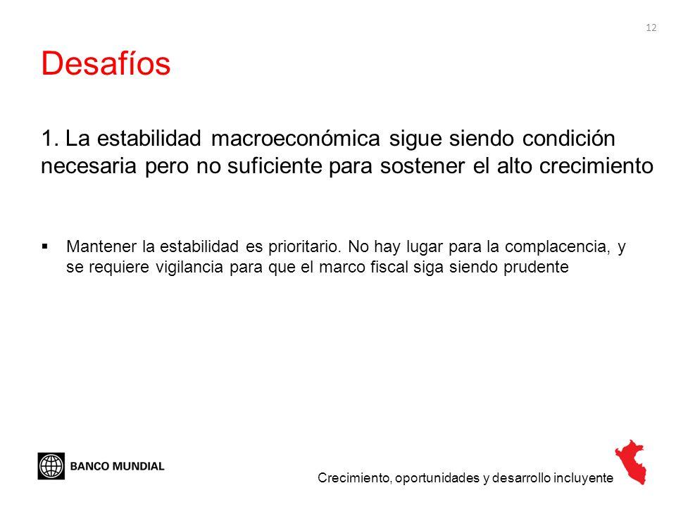 Desafíos 1. La estabilidad macroeconómica sigue siendo condición necesaria pero no suficiente para sostener el alto crecimiento.