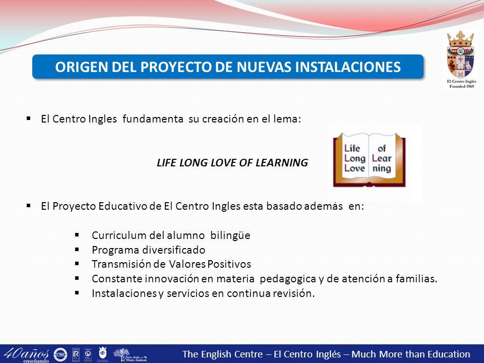 ORIGEN DEL PROYECTO DE NUEVAS INSTALACIONES LIFE LONG LOVE OF LEARNING