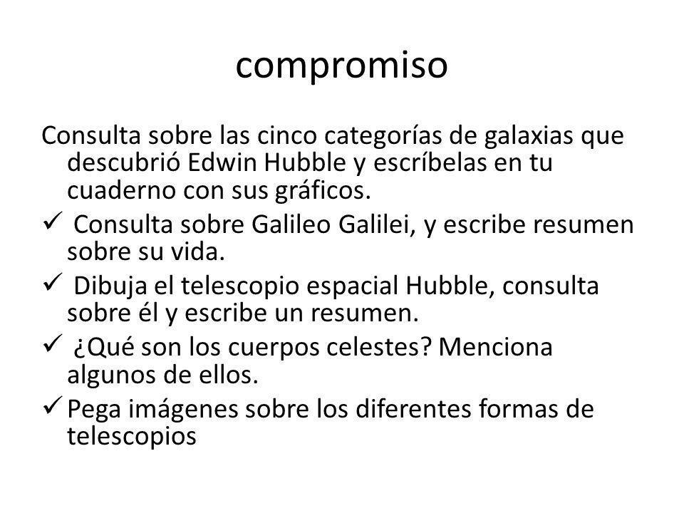 compromisoConsulta sobre las cinco categorías de galaxias que descubrió Edwin Hubble y escríbelas en tu cuaderno con sus gráficos.