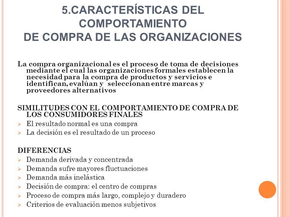 5.CARACTERÍSTICAS DEL COMPORTAMIENTO DE COMPRA DE LAS ORGANIZACIONES