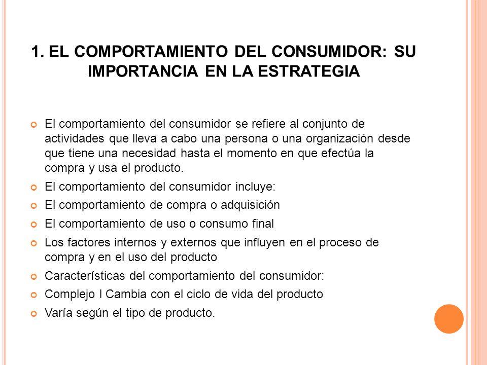 1. EL COMPORTAMIENTO DEL CONSUMIDOR: SU IMPORTANCIA EN LA ESTRATEGIA