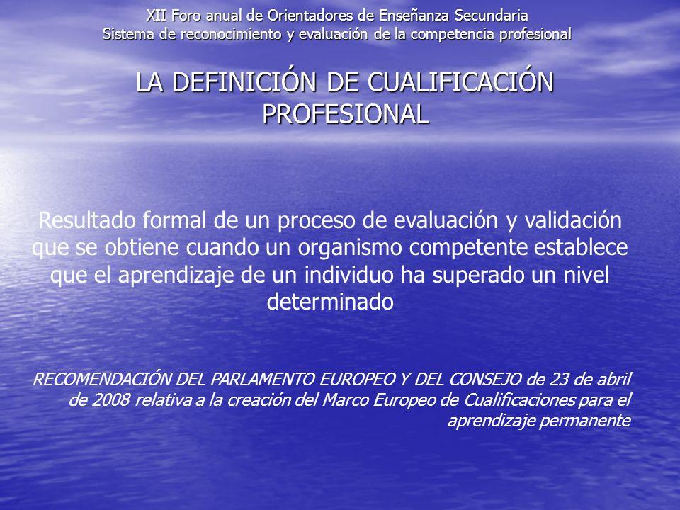 LA DEFINICIÓN DE CUALIFICACIÓN PROFESIONAL