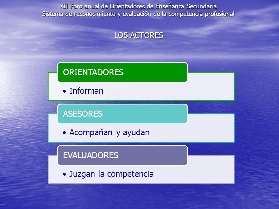 XII Foro anual de Orientadores de Enseñanza Secundaria Sistema de reconocimiento y evaluación de la competencia profesional