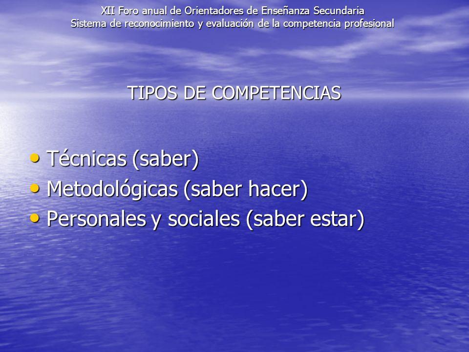 Metodológicas (saber hacer) Personales y sociales (saber estar)