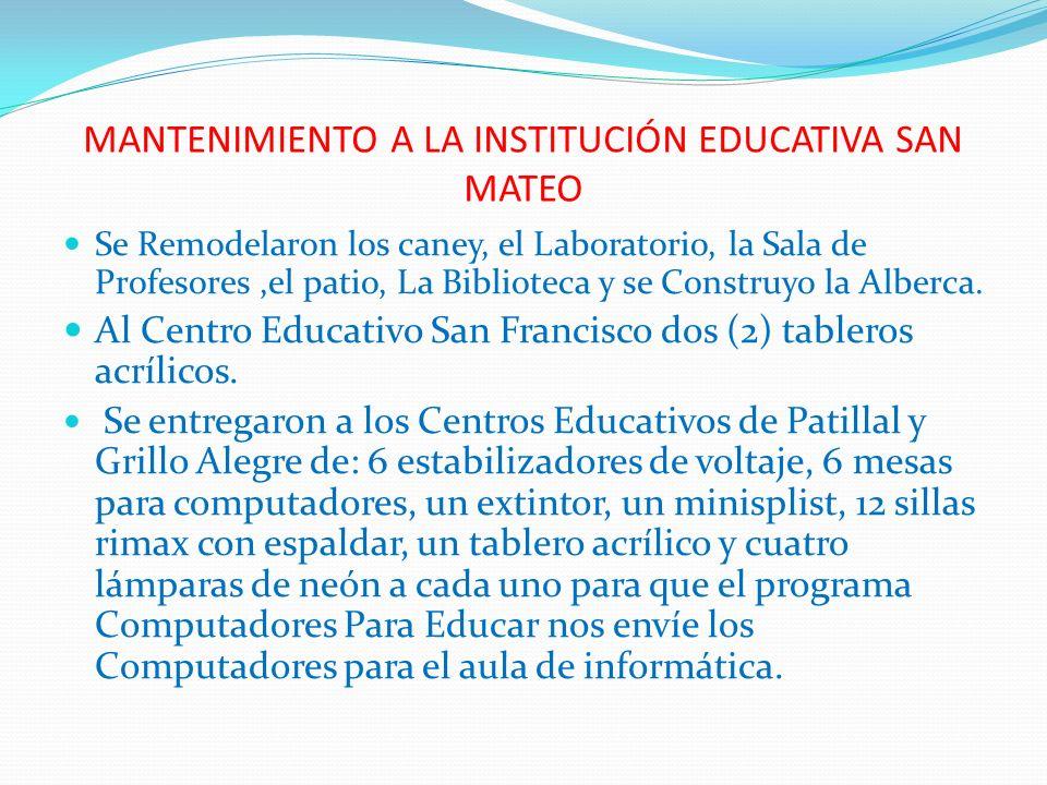 MANTENIMIENTO A LA INSTITUCIÓN EDUCATIVA SAN MATEO