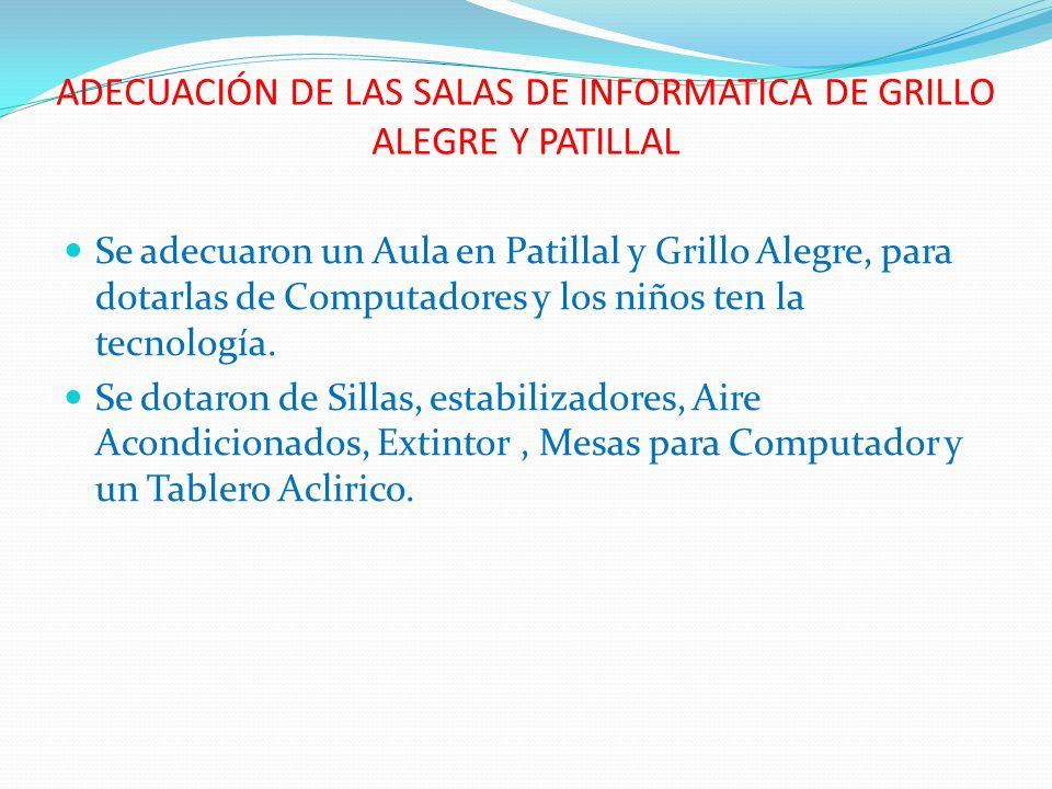 ADECUACIÓN DE LAS SALAS DE INFORMATICA DE GRILLO ALEGRE Y PATILLAL