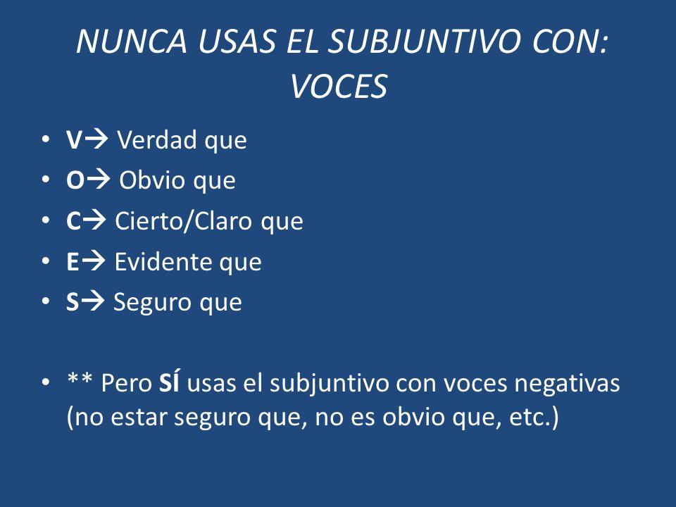NUNCA USAS EL SUBJUNTIVO CON: VOCES