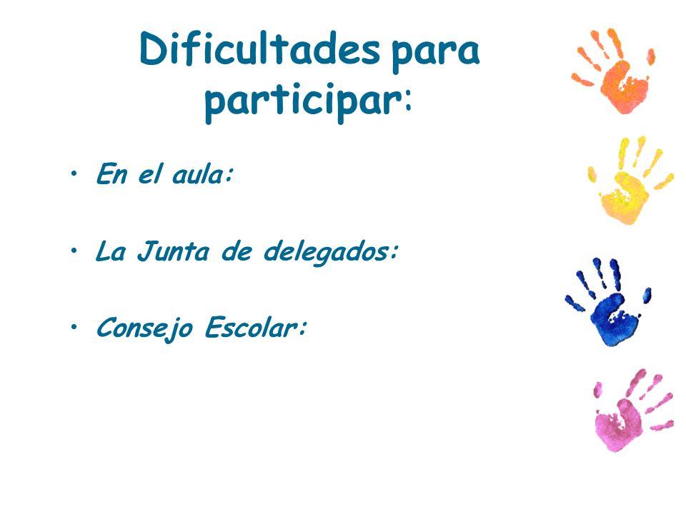 Dificultades para participar: