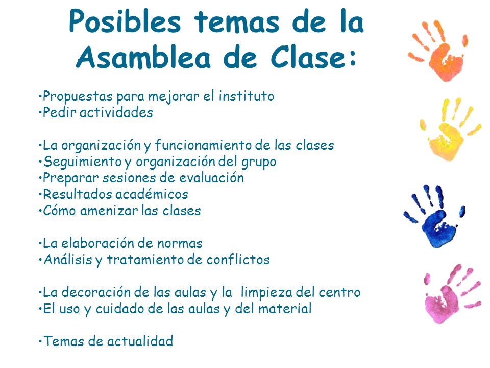 Posibles temas de la Asamblea de Clase: