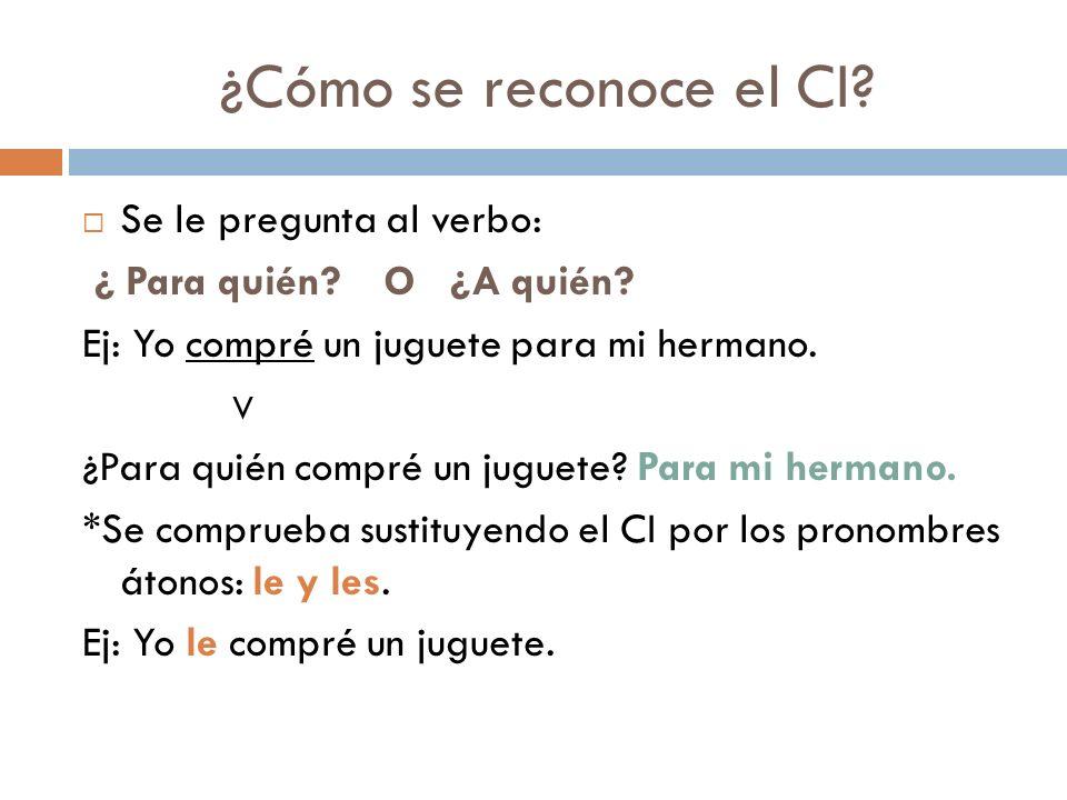 ¿Cómo se reconoce el CI Se le pregunta al verbo: