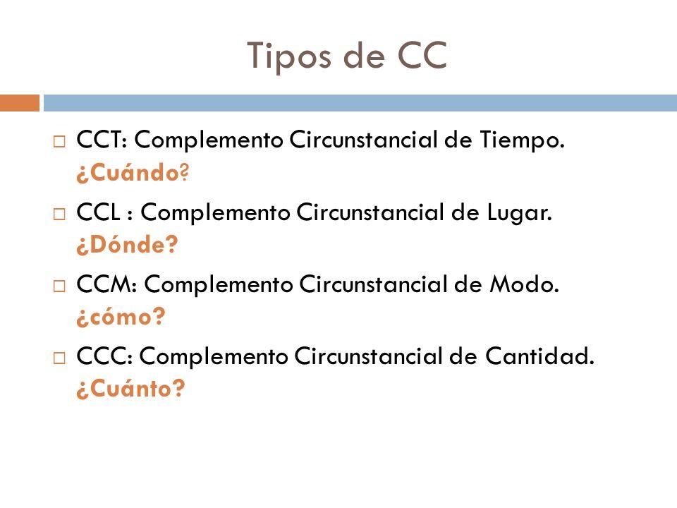 Tipos de CC CCT: Complemento Circunstancial de Tiempo. ¿Cuándo