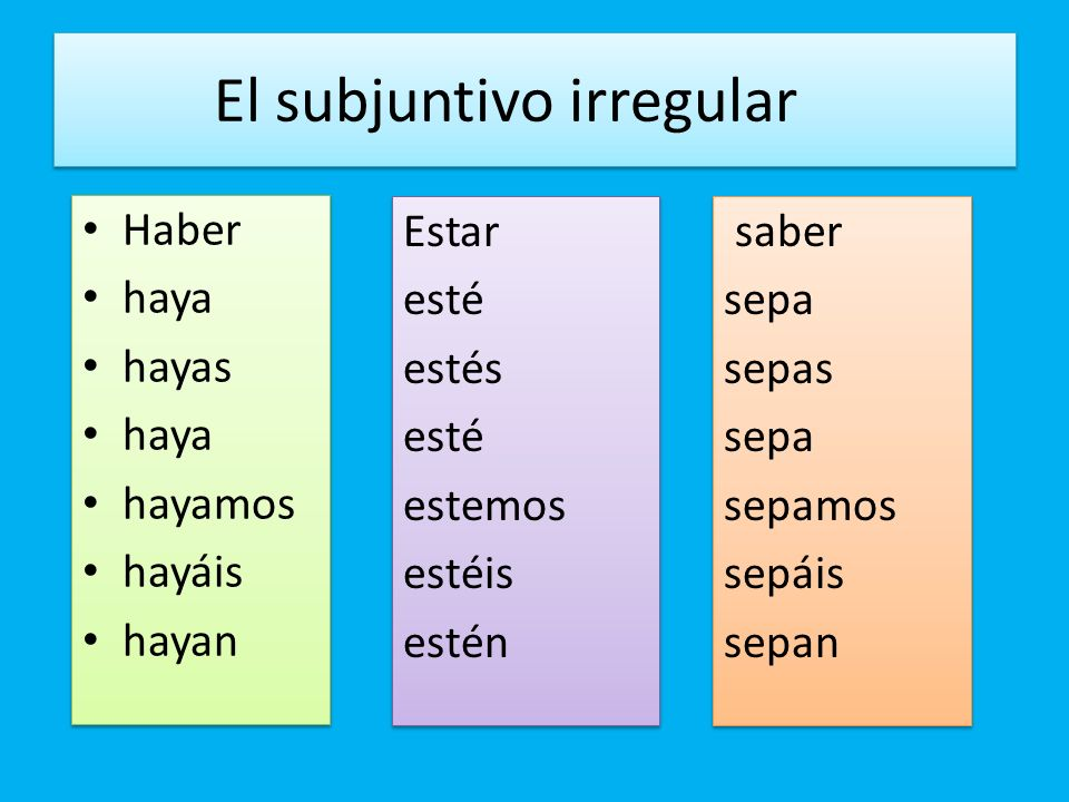 El subjuntivo irregular