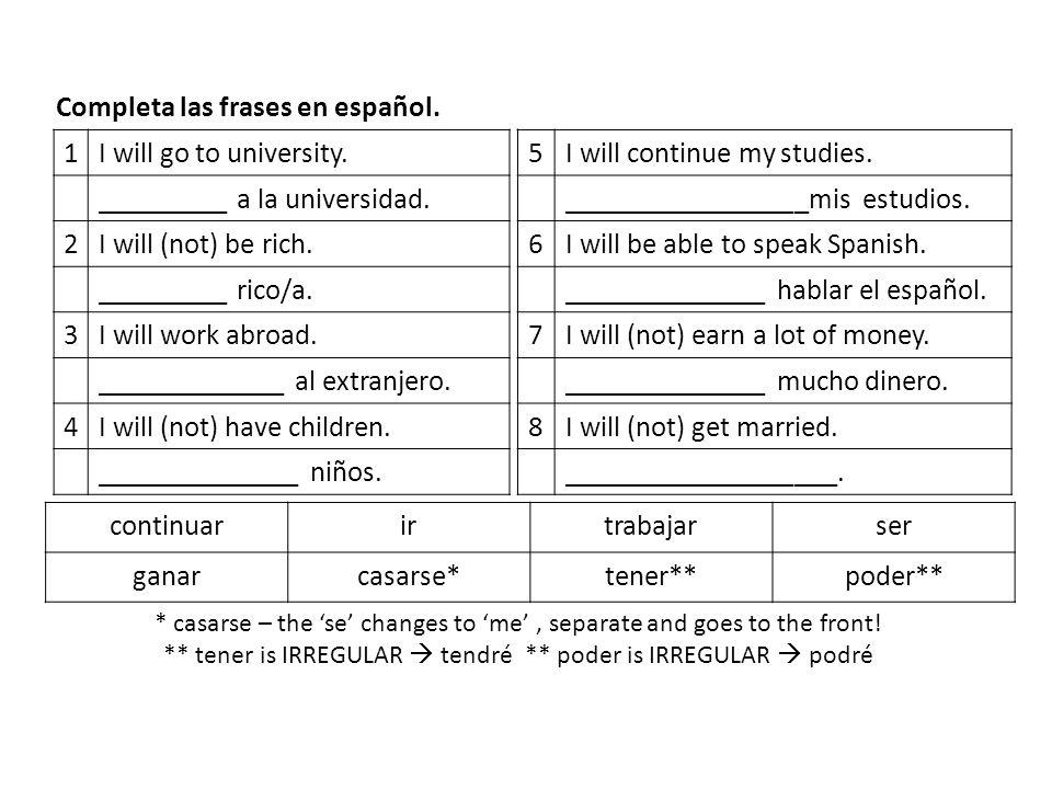 Completa las frases en español. 1 I will go to university.