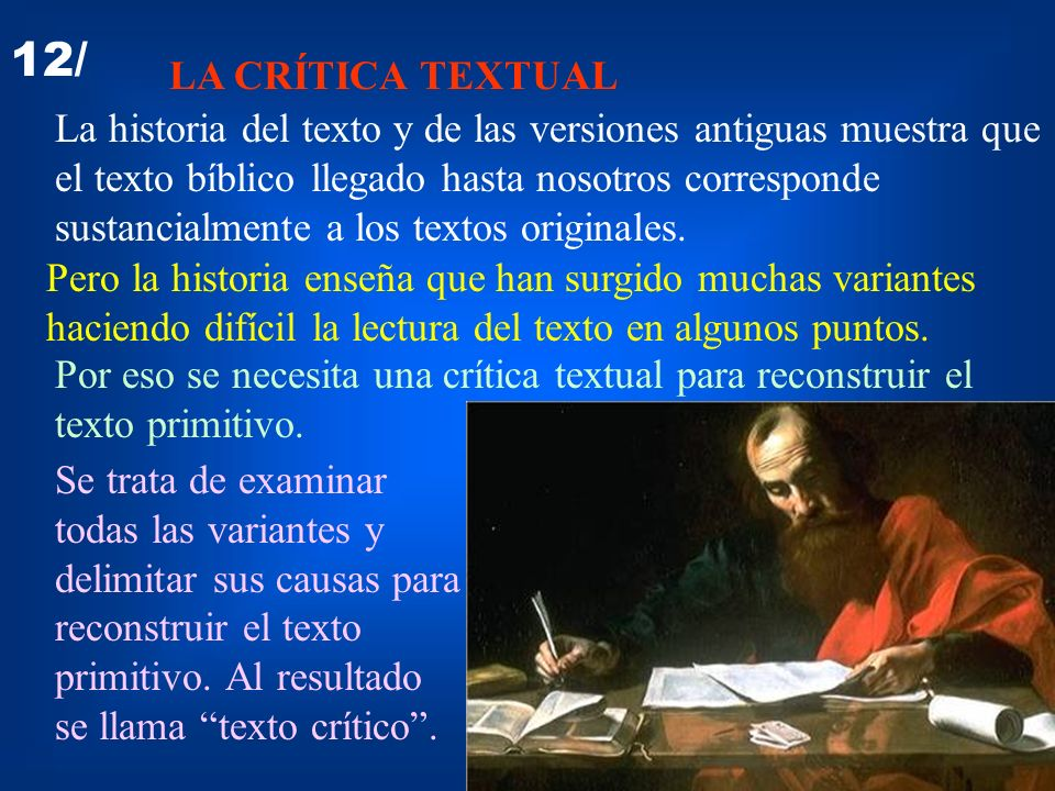12/ LA CRÍTICA TEXTUAL.