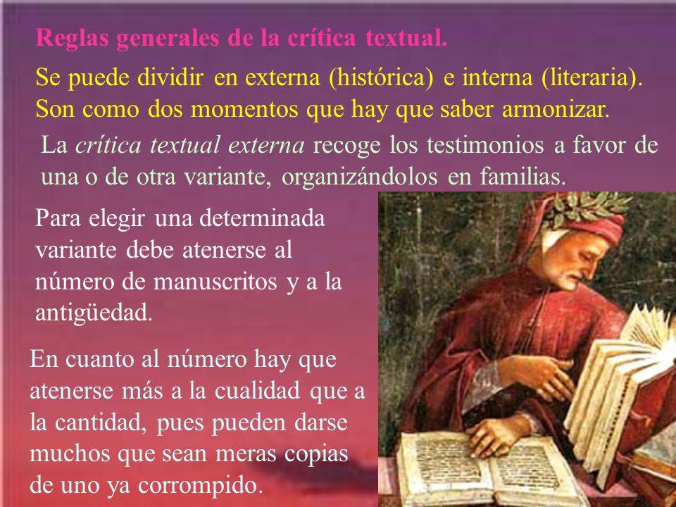 Reglas generales de la crítica textual.