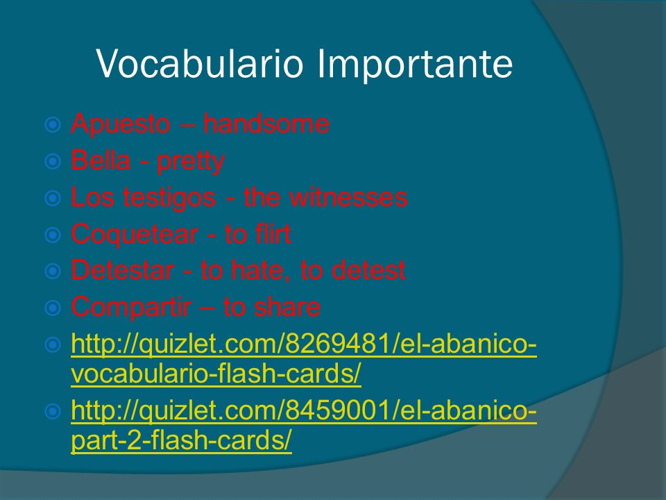 Vocabulario Importante