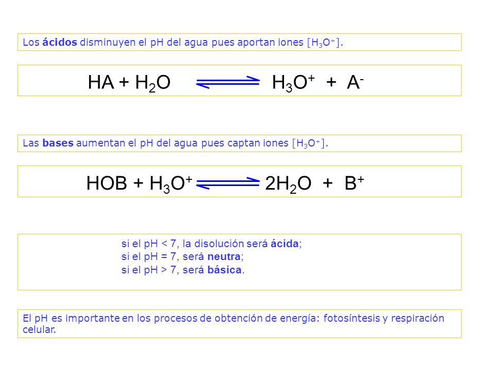HA + H2O H3O+ + A- HOB + H3O+ 2H2O + B+