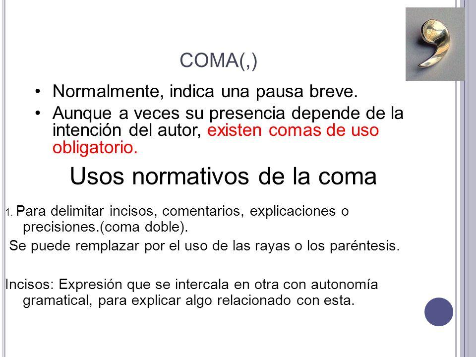 Usos normativos de la coma