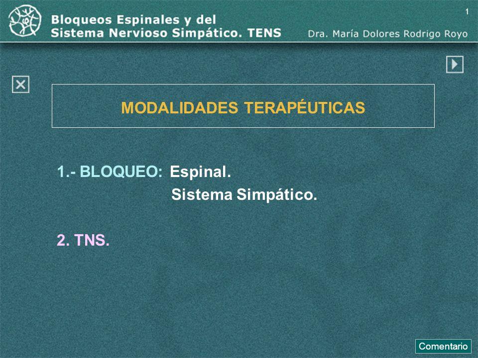 1.- BLOQUEO: Espinal. Sistema Simpático. 2. TNS.