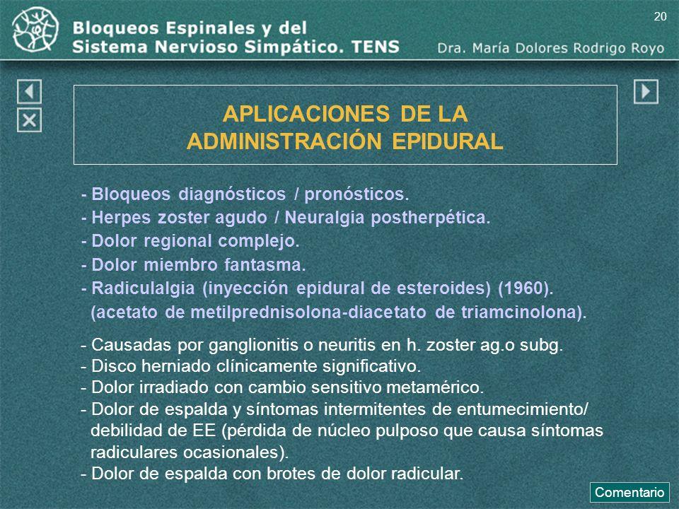 APLICACIONES DE LA ADMINISTRACIÓN EPIDURAL