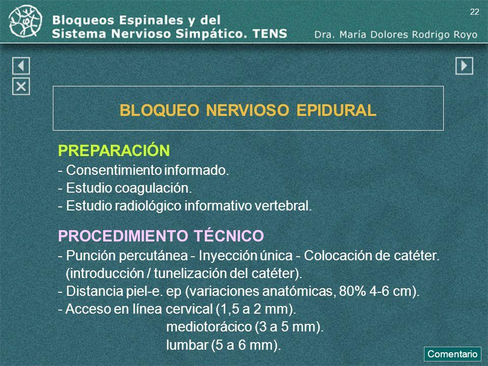 BLOQUEO NERVIOSO EPIDURAL
