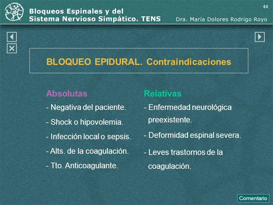 BLOQUEO EPIDURAL. Contraindicaciones