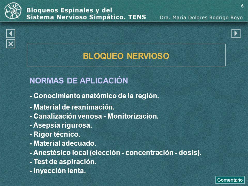 BLOQUEO NERVIOSO NORMAS DE APLICACIÓN