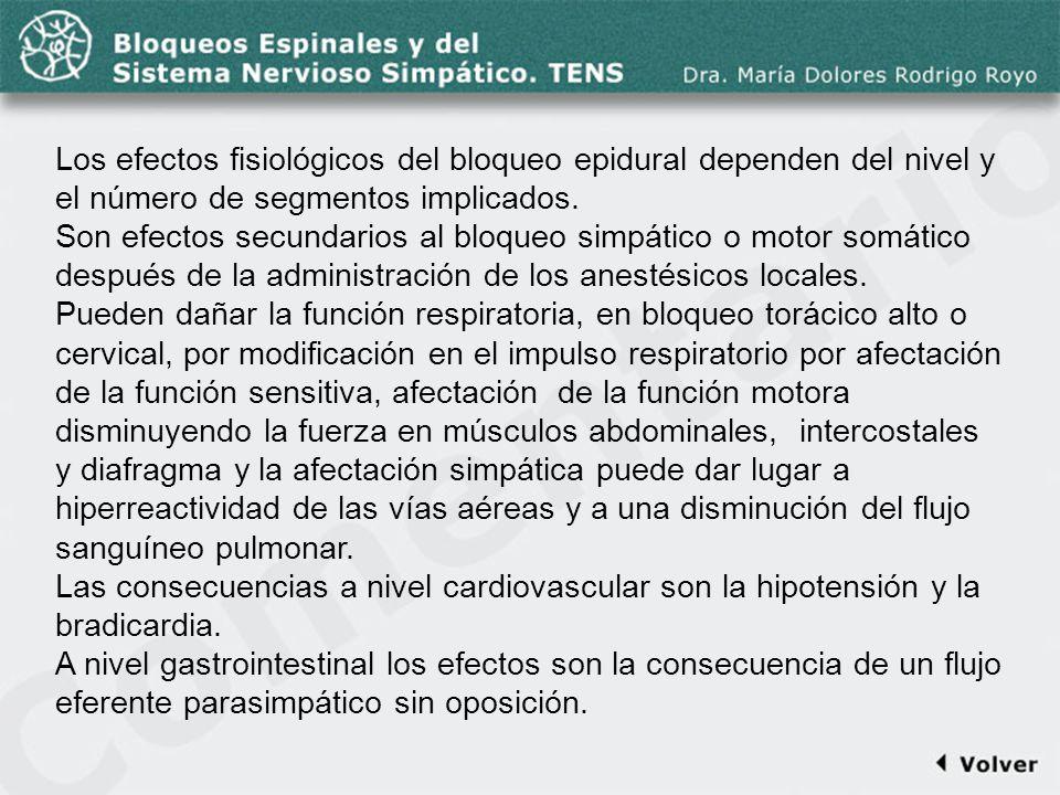 Comentario a la diapo43 Los efectos fisiológicos del bloqueo epidural dependen del nivel y el número de segmentos implicados.