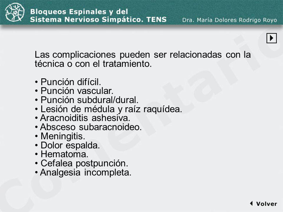 Comentario a la diapo44-1 Las complicaciones pueden ser relacionadas con la técnica o con el tratamiento.
