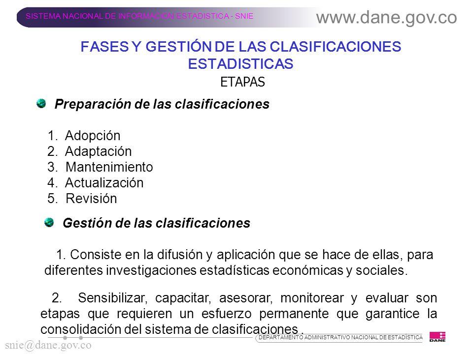 FASES Y GESTIÓN DE LAS CLASIFICACIONES ESTADISTICAS