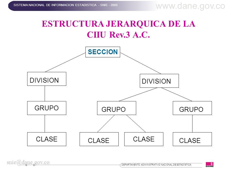 ESTRUCTURA JERARQUICA DE LA CIIU Rev.3 A.C.