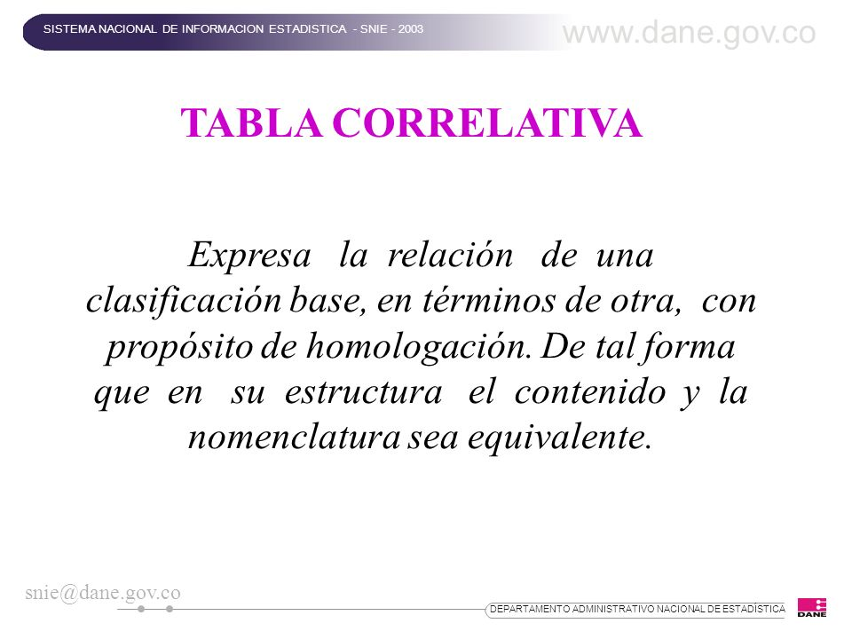 www.dane.gov.co SISTEMA NACIONAL DE INFORMACION ESTADISTICA - SNIE - 2003. TABLA CORRELATIVA.