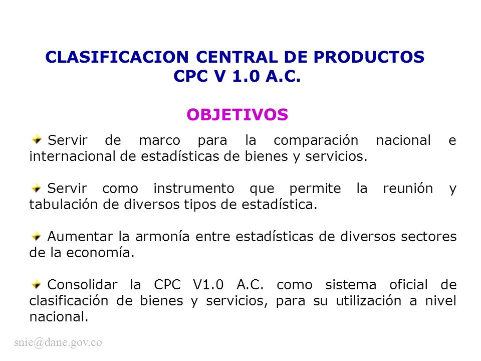 CLASIFICACION CENTRAL DE PRODUCTOS