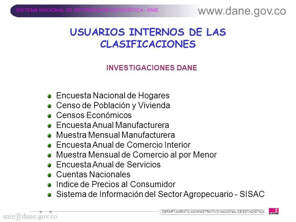USUARIOS INTERNOS DE LAS CLASIFICACIONES