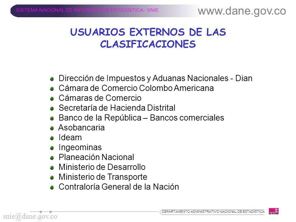 USUARIOS EXTERNOS DE LAS CLASIFICACIONES