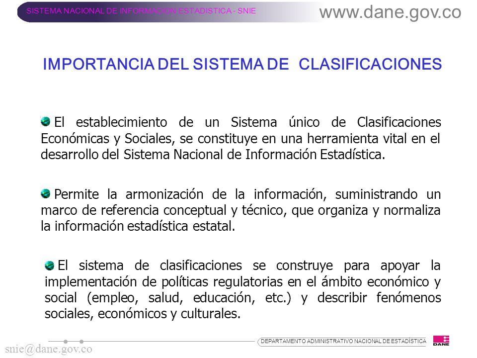 IMPORTANCIA DEL SISTEMA DE CLASIFICACIONES